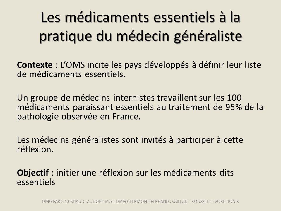 Les médicaments essentiels à la pratique du médecin généraliste Contexte : LOMS incite les pays développés à définir leur liste de médicaments essenti