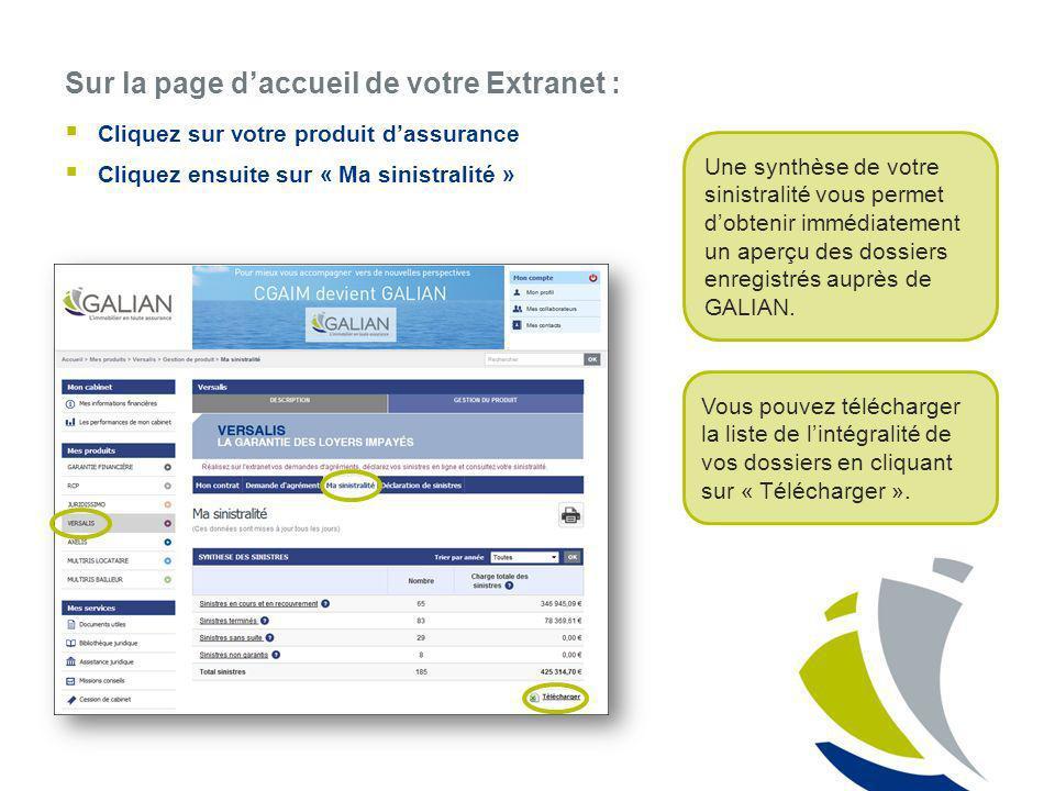 Sur la page daccueil de votre Extranet : Cliquez sur votre produit dassurance Cliquez ensuite sur « Ma sinistralité » Une synthèse de votre sinistrali