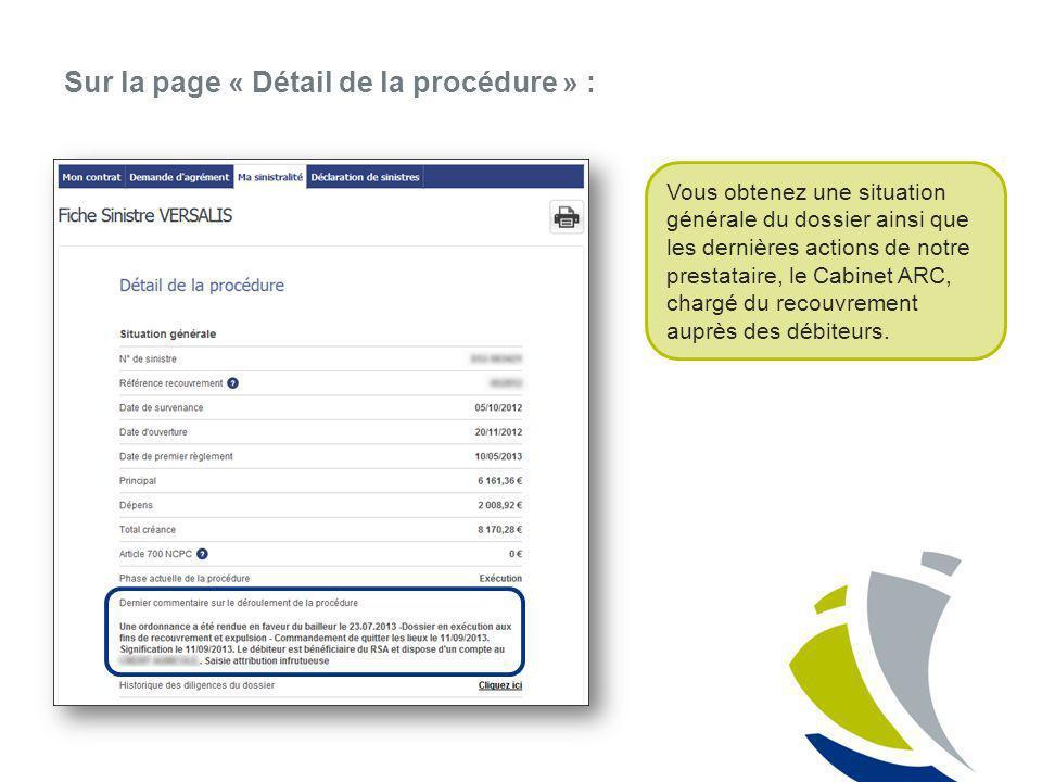 Sur la page « Détail de la procédure » : Vous obtenez une situation générale du dossier ainsi que les dernières actions de notre prestataire, le Cabin