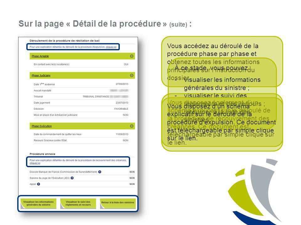 Sur la page « Détail de la procédure » (suite) : Vous accédez au déroulé de la procédure phase par phase et obtenez toutes les informations principale