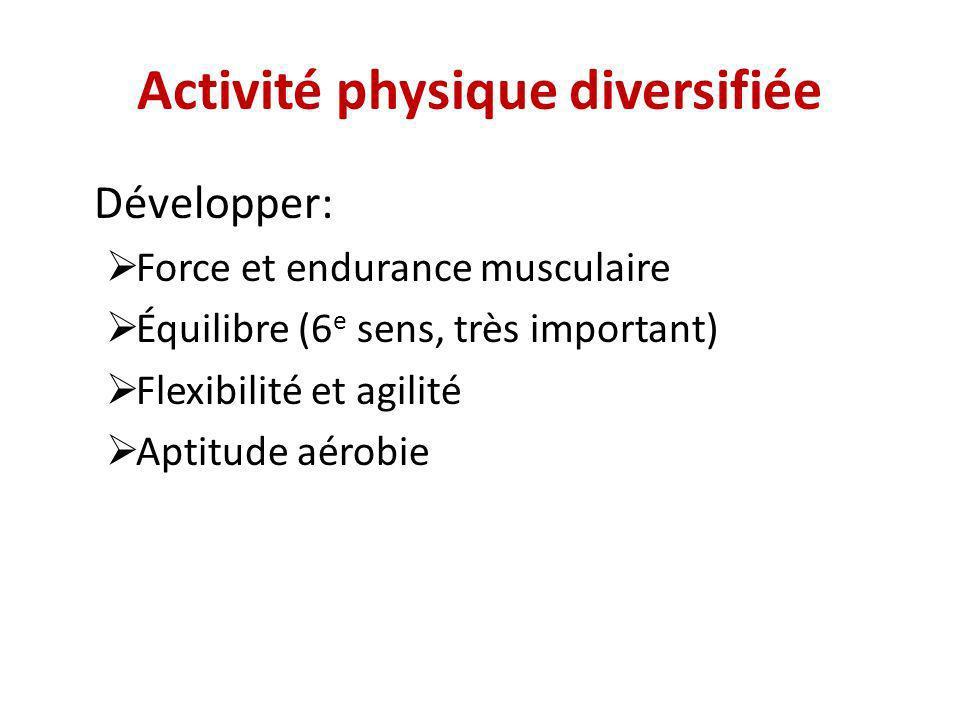 Activité physique diversifiée Développer: Force et endurance musculaire Équilibre (6 e sens, très important) Flexibilité et agilité Aptitude aérobie