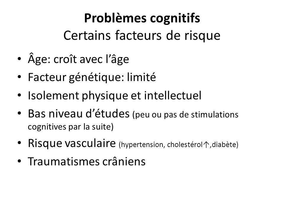 Problèmes cognitifs Certains facteurs de risque Âge: croît avec lâge Facteur génétique: limité Isolement physique et intellectuel Bas niveau détudes (