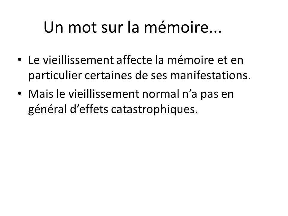 Un mot sur la mémoire... Le vieillissement affecte la mémoire et en particulier certaines de ses manifestations. Mais le vieillissement normal na pas