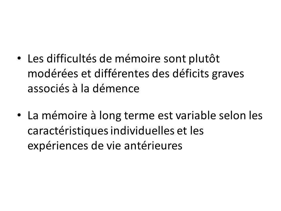Les difficultés de mémoire sont plutôt modérées et différentes des déficits graves associés à la démence La mémoire à long terme est variable selon les caractéristiques individuelles et les expériences de vie antérieures