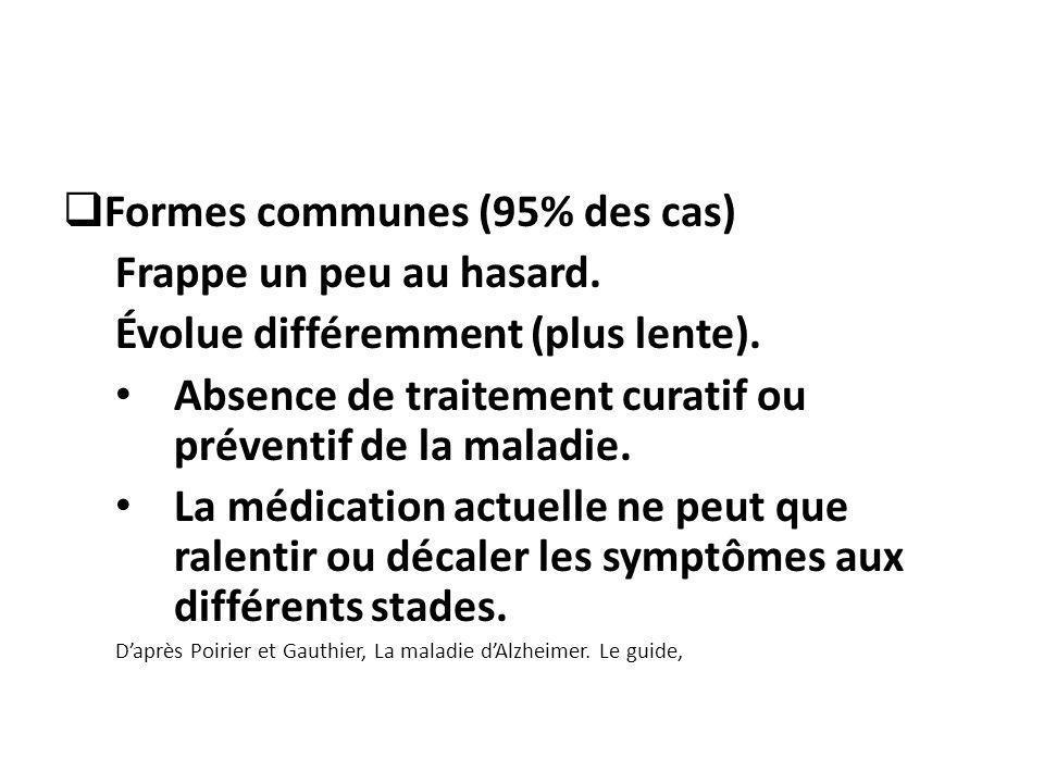 Formes communes (95% des cas) Frappe un peu au hasard. Évolue différemment (plus lente). Absence de traitement curatif ou préventif de la maladie. La