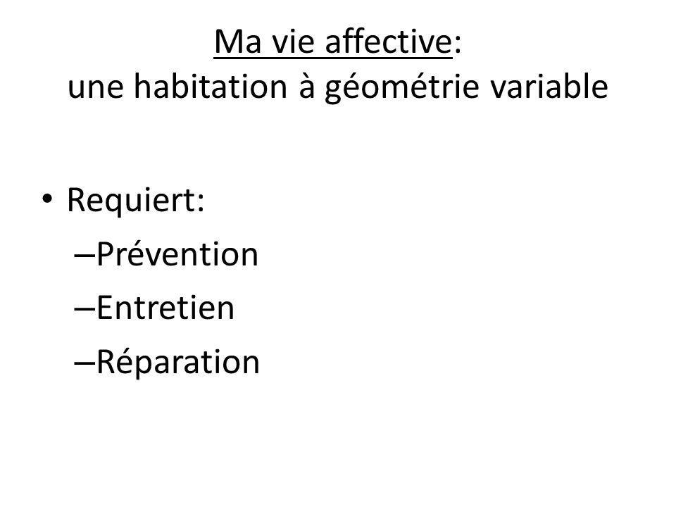 Ma vie affective: une habitation à géométrie variable Requiert: – Prévention – Entretien – Réparation