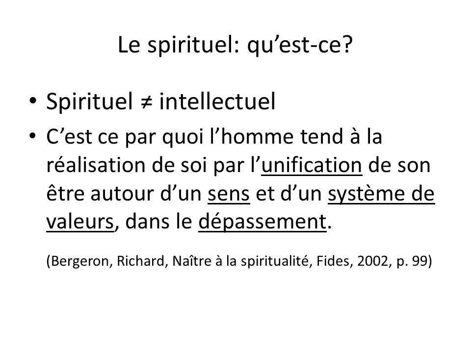 Le spirituel: quest-ce? Spirituel intellectuel Cest ce par quoi lhomme tend à la réalisation de soi par lunification de son être autour dun sens et du