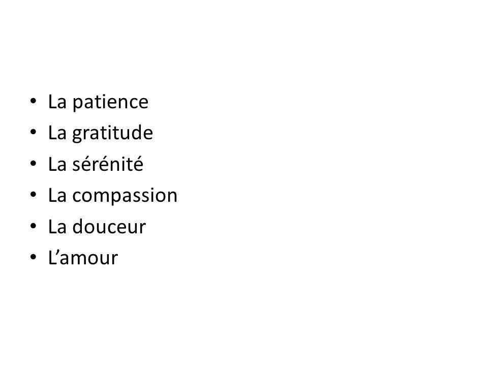 La patience La gratitude La sérénité La compassion La douceur Lamour
