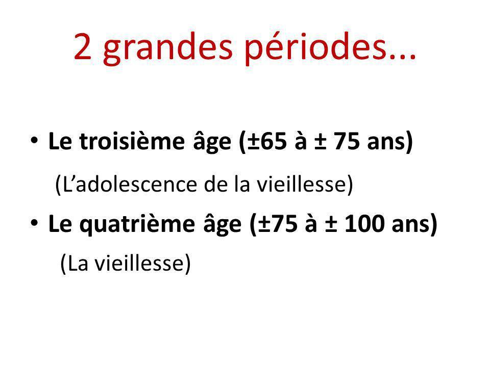 2 grandes périodes... Le troisième âge (±65 à ± 75 ans) (Ladolescence de la vieillesse) Le quatrième âge (±75 à ± 100 ans) (La vieillesse)