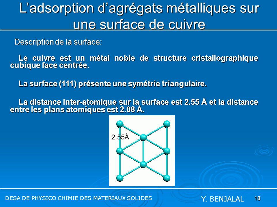 18 Ladsorption dagrégats métalliques sur une surface de cuivre Le cuivre est un métal noble de structure cristallographique cubique face centrée. Le c