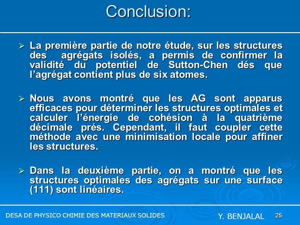 25Conclusion: La première partie de notre étude, sur les structures des agrégats isolés, a permis de confirmer la validité du potentiel de Sutton-Chen