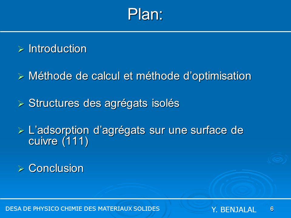 6 Plan: Introduction Introduction Méthode de calcul et méthode doptimisation Méthode de calcul et méthode doptimisation Structures des agrégats isolés