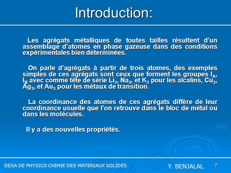 7 Introduction: Les agrégats métalliques de toutes tailles résultent dun assemblage datomes en phase gazeuse dans des conditions expérimentales bien d