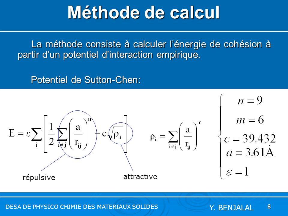 8 Méthode de calcul La méthode consiste à calculer lénergie de cohésion à partir dun potentiel dinteraction empirique. La méthode consiste à calculer