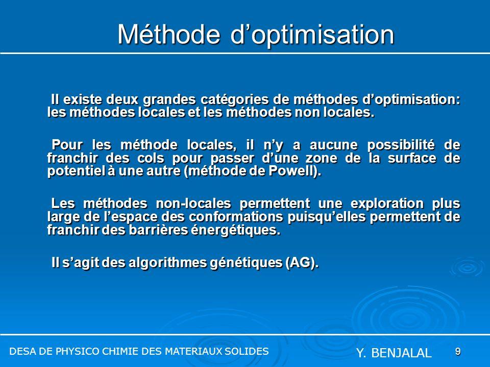 9 Méthode doptimisation Il existe deux grandes catégories de méthodes doptimisation: les méthodes locales et les méthodes non locales. Il existe deux