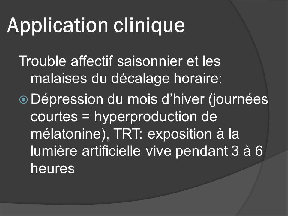 Application clinique Trouble affectif saisonnier et les malaises du décalage horaire: Dépression du mois dhiver (journées courtes = hyperproduction de