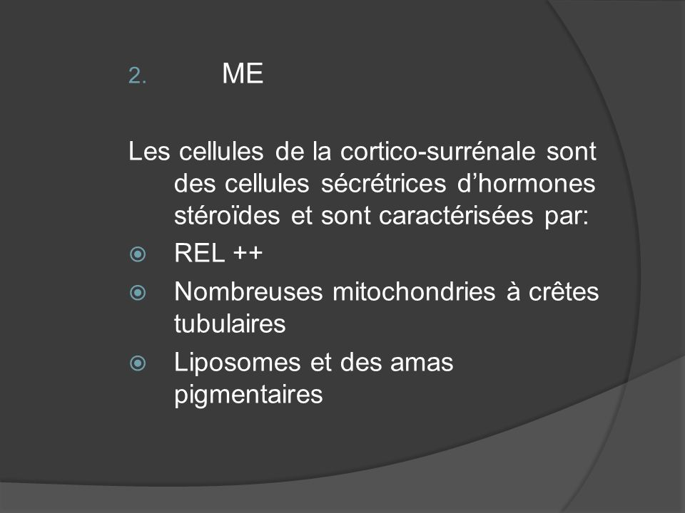 2. ME Les cellules de la cortico-surrénale sont des cellules sécrétrices dhormones stéroïdes et sont caractérisées par: REL ++ Nombreuses mitochondrie