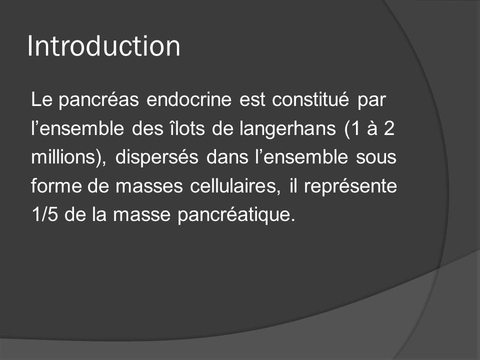 Introduction Le pancréas endocrine est constitué par lensemble des îlots de langerhans (1 à 2 millions), dispersés dans lensemble sous forme de masses
