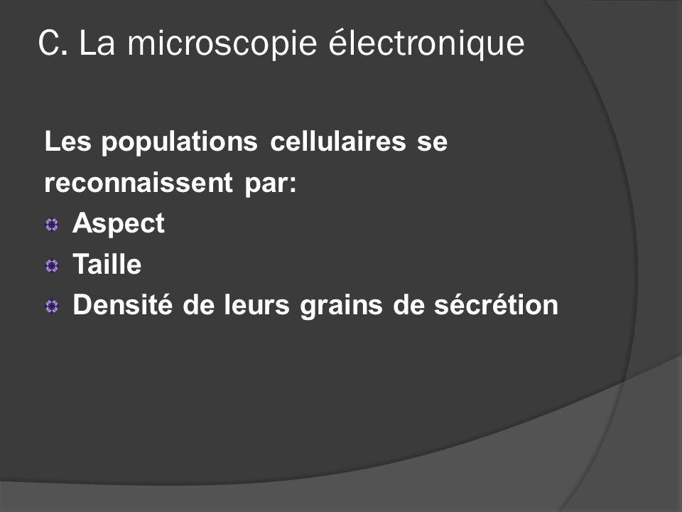 C. La microscopie électronique Les populations cellulaires se reconnaissent par: Aspect Taille Densité de leurs grains de sécrétion