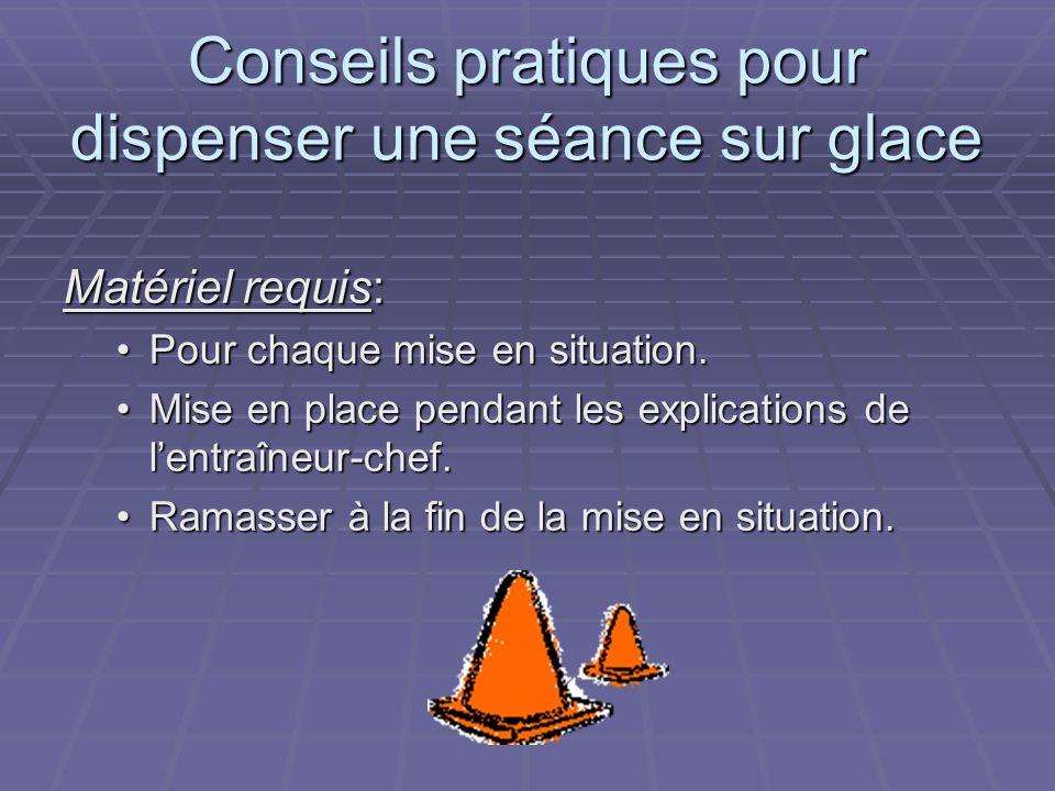 Conseils pratiques pour dispenser une séance sur glace Matériel requis: Pour chaque mise en situation.Pour chaque mise en situation.