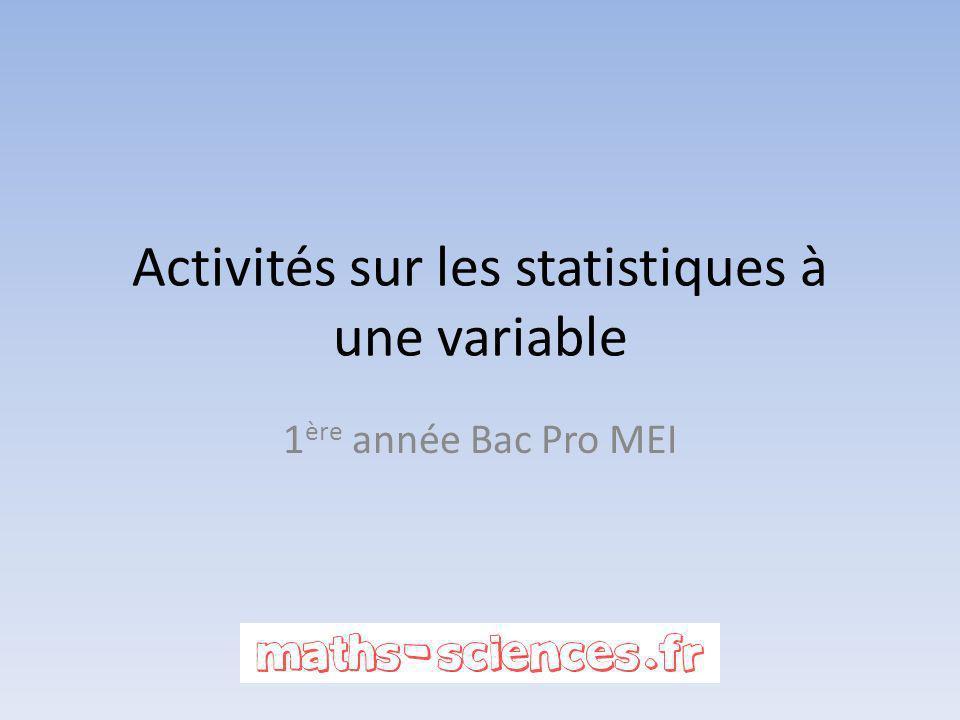 Activités sur les statistiques à une variable 1 ère année Bac Pro MEI