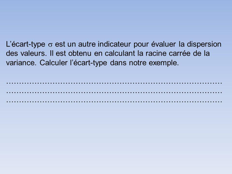 Lécart-type est un autre indicateur pour évaluer la dispersion des valeurs.