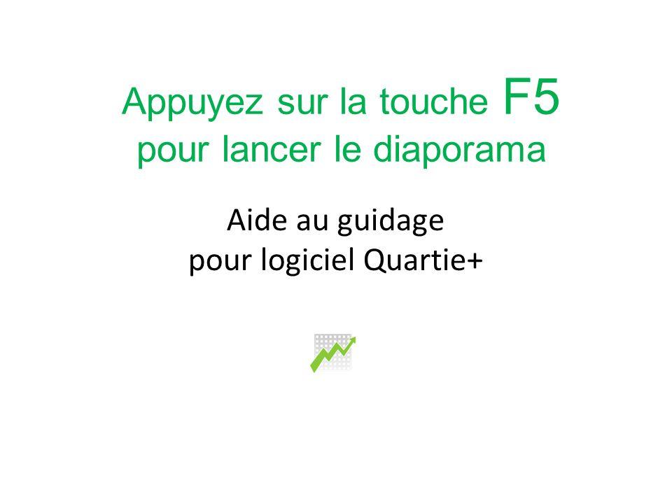 Aide au guidage pour logiciel Quartie+ Appuyez sur la touche F5 pour lancer le diaporama