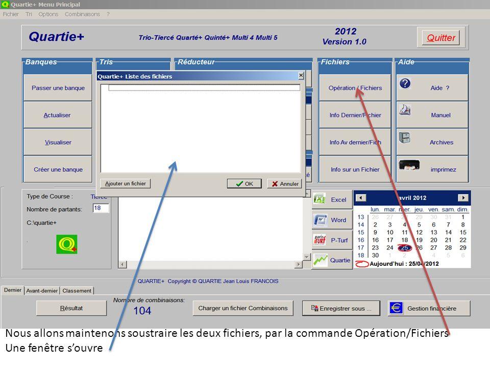 Nous allons maintenons soustraire les deux fichiers, par la commande Opération/Fichiers Une fenêtre souvre