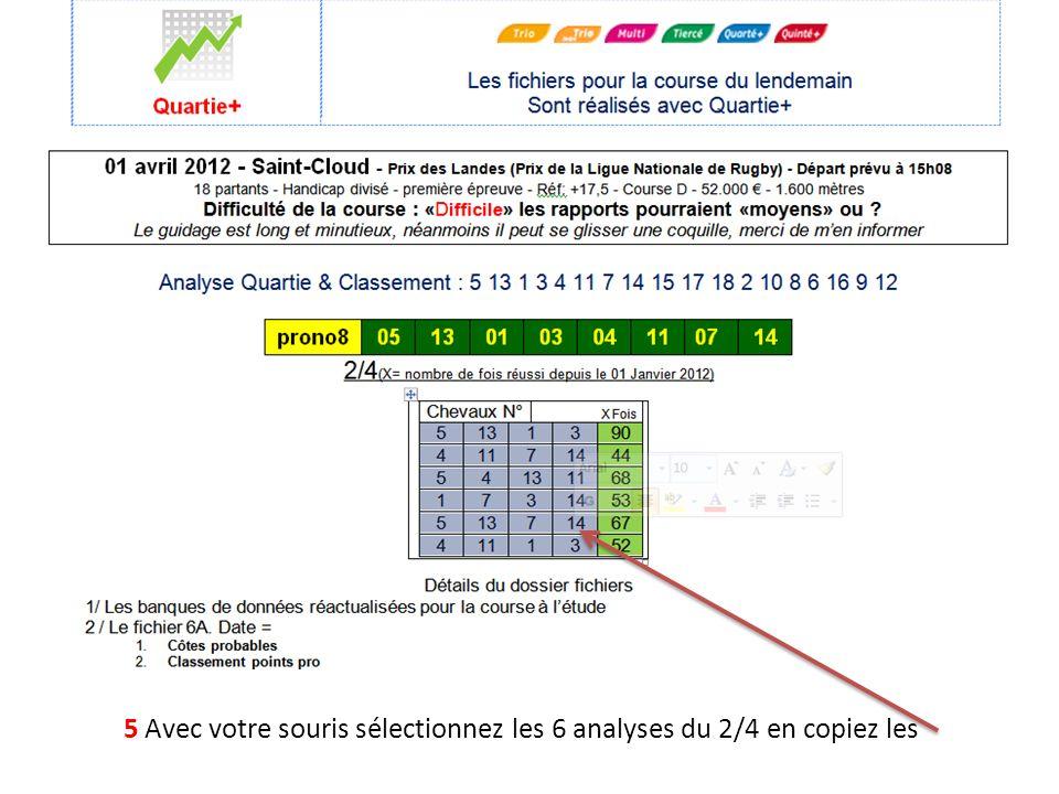 5 Avec votre souris sélectionnez les 6 analyses du 2/4 en copiez les