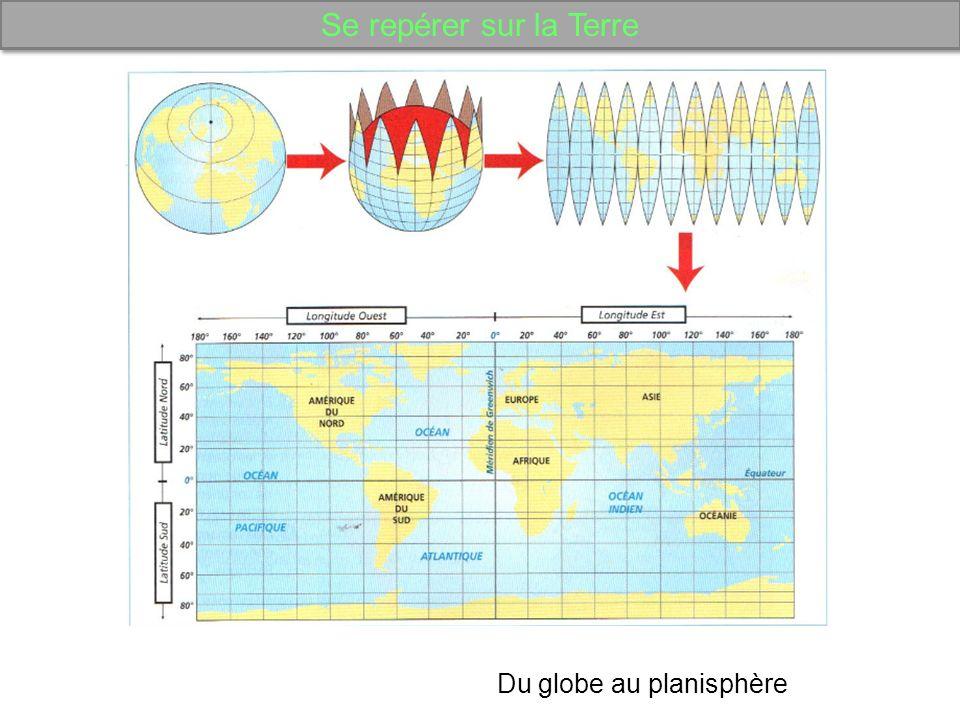 Se repérer sur la Terre Du globe au planisphère