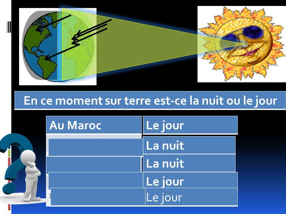 Au Maroc Au Canada Au Brésil En France En Espagne En ce moment sur terre est-ce la nuit ou le jour Le jour La nuit Le jour