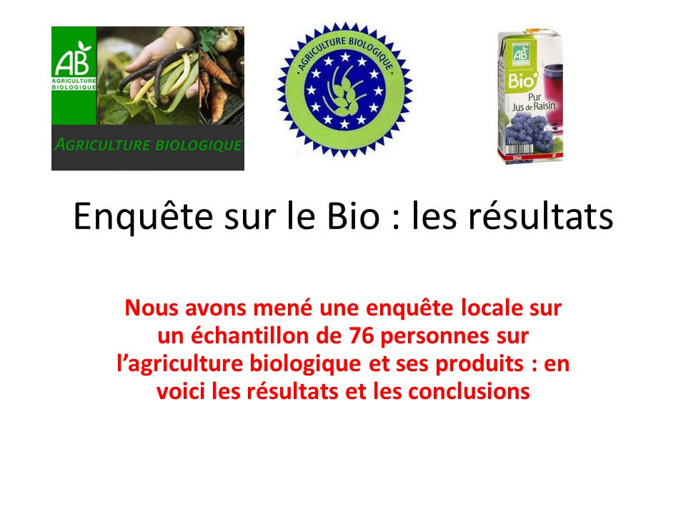 Enquête sur le Bio : les résultats Nous avons mené une enquête locale sur un échantillon de 76 personnes sur lagriculture biologique et ses produits : en voici les résultats et les conclusions