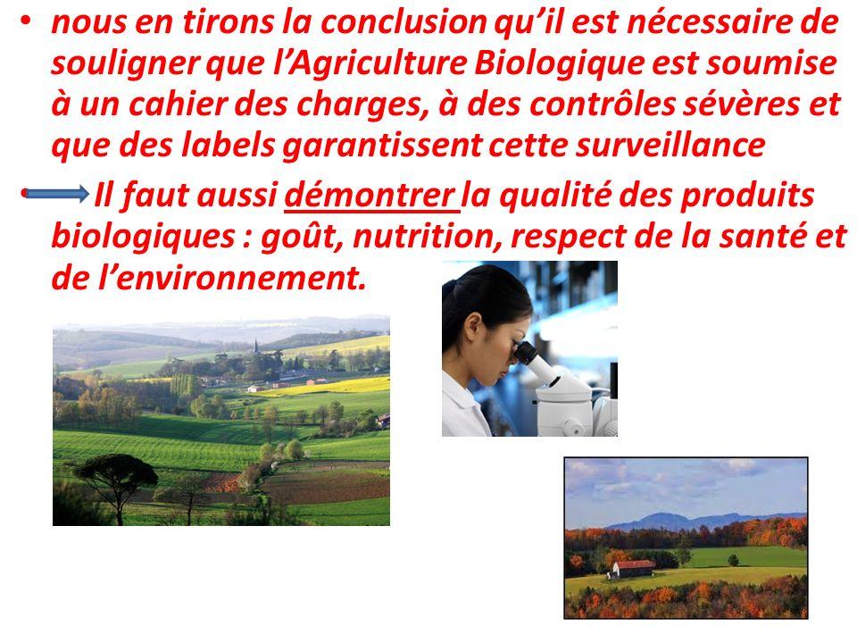nous en tirons la conclusion quil est nécessaire de souligner que lAgriculture Biologique est soumise à un cahier des charges, à des contrôles sévères