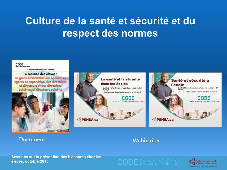 Sessions sur la prévention des blessures chez les élèves, octobre 2013 Culture de la santé et sécurité et du respect des normes Document Webinaires