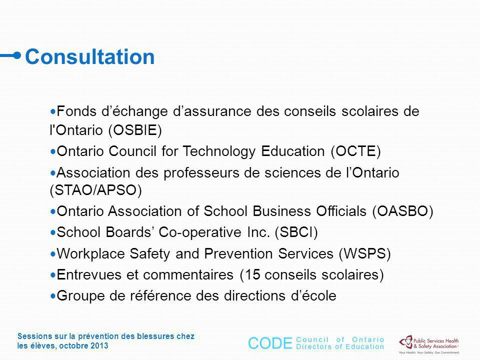 Fonds déchange dassurance des conseils scolaires de l Ontario (OSBIE) Ontario Council for Technology Education (OCTE) Association des professeurs de sciences de lOntario (STAO/APSO) Ontario Association of School Business Officials (OASBO) School Boards Co-operative Inc.