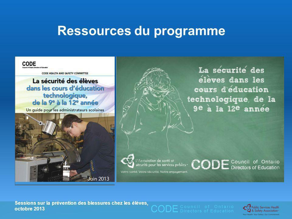 Sessions sur la prévention des blessures chez les élèves, octobre 2013 Ressources du programme