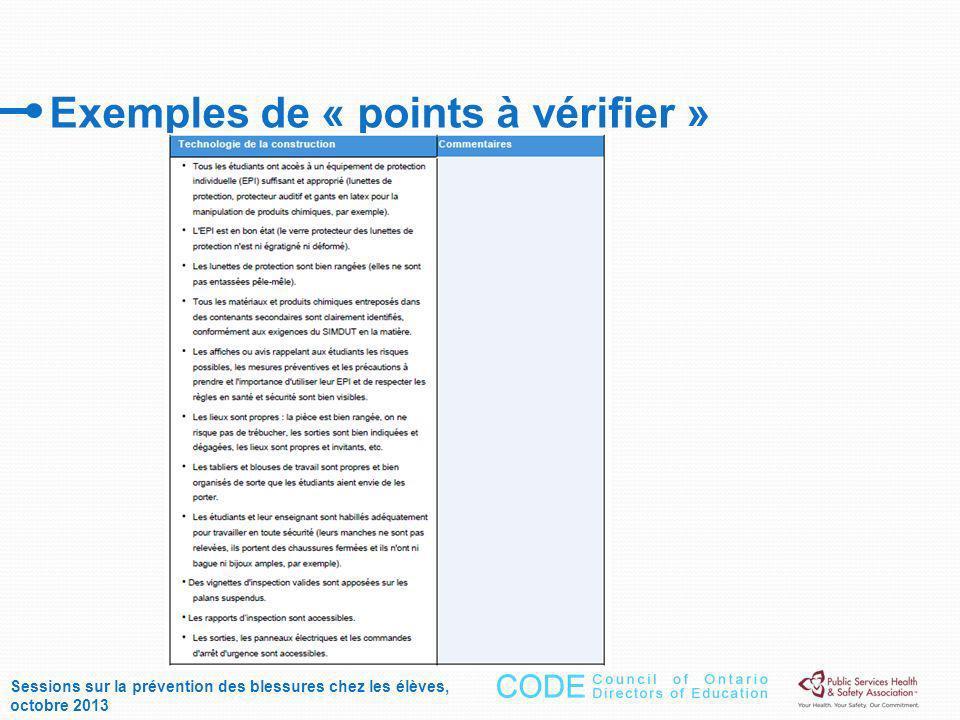 Exemples de « points à vérifier » Sessions sur la prévention des blessures chez les élèves, octobre 2013