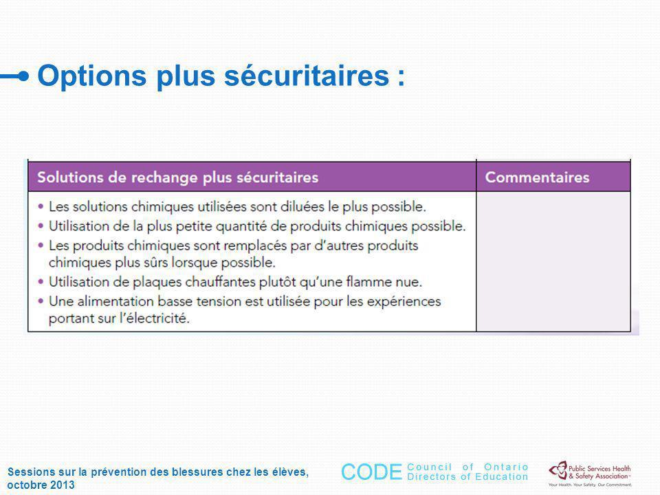 Options plus sécuritaires : Sessions sur la prévention des blessures chez les élèves, octobre 2013