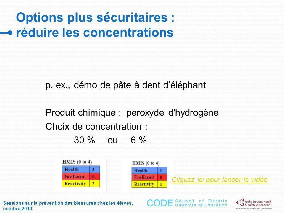 Options plus sécuritaires : réduire les concentrations p.