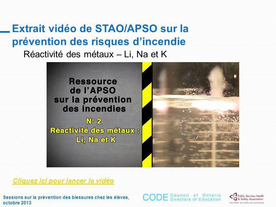 Extrait vidéo de STAO/APSO sur la prévention des risques dincendie Réactivité des métaux – Li, Na et K Cliquez ici pour lancer la vidéo