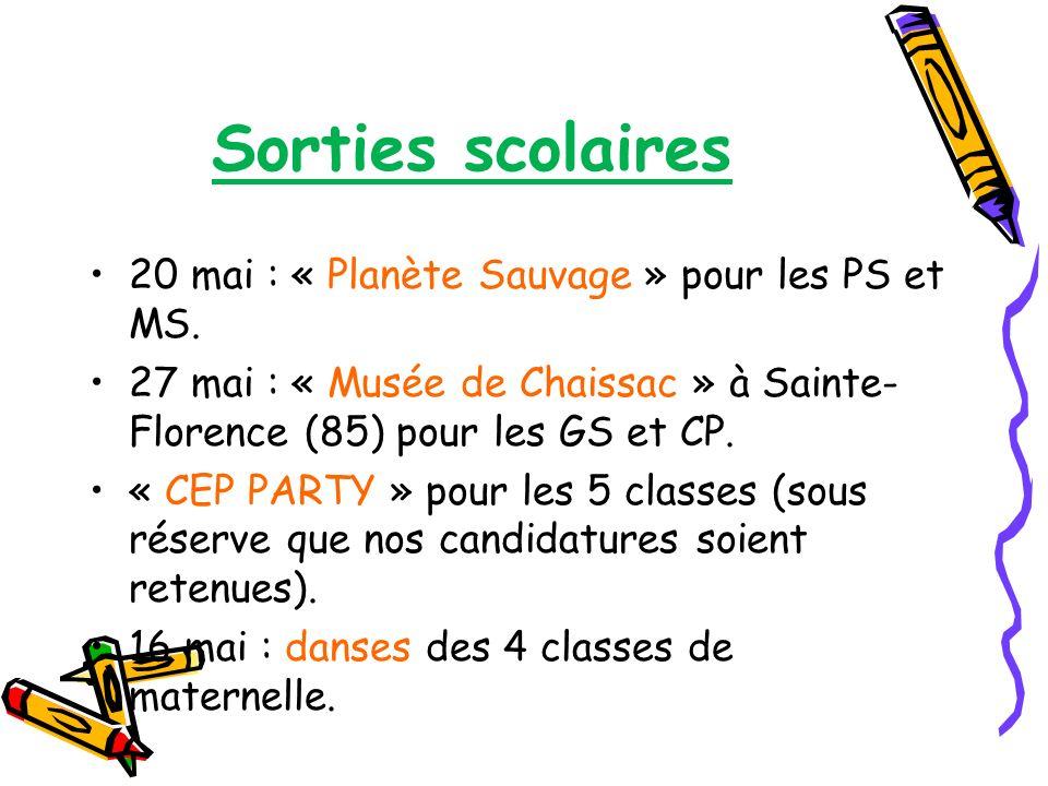Sorties scolaires 20 mai : « Planète Sauvage » pour les PS et MS. 27 mai : « Musée de Chaissac » à Sainte- Florence (85) pour les GS et CP. « CEP PART