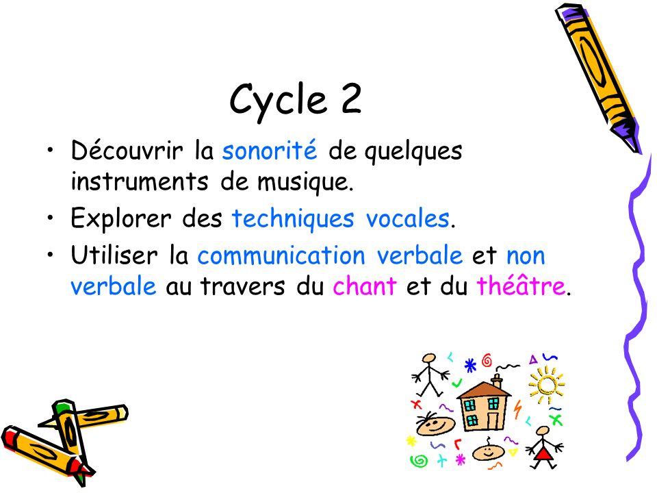 Cycle 2 Découvrir la sonorité de quelques instruments de musique. Explorer des techniques vocales. Utiliser la communication verbale et non verbale au