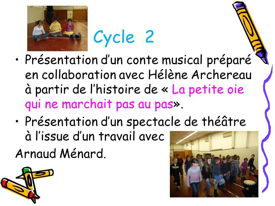 Présentation dun conte musical préparé en collaboration avec Hélène Archereau à partir de lhistoire de « La petite oie qui ne marchait pas au pas». Pr