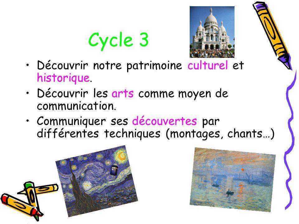 Cycle 3 Découvrir notre patrimoine culturel et historique. Découvrir les arts comme moyen de communication. Communiquer ses découvertes par différente