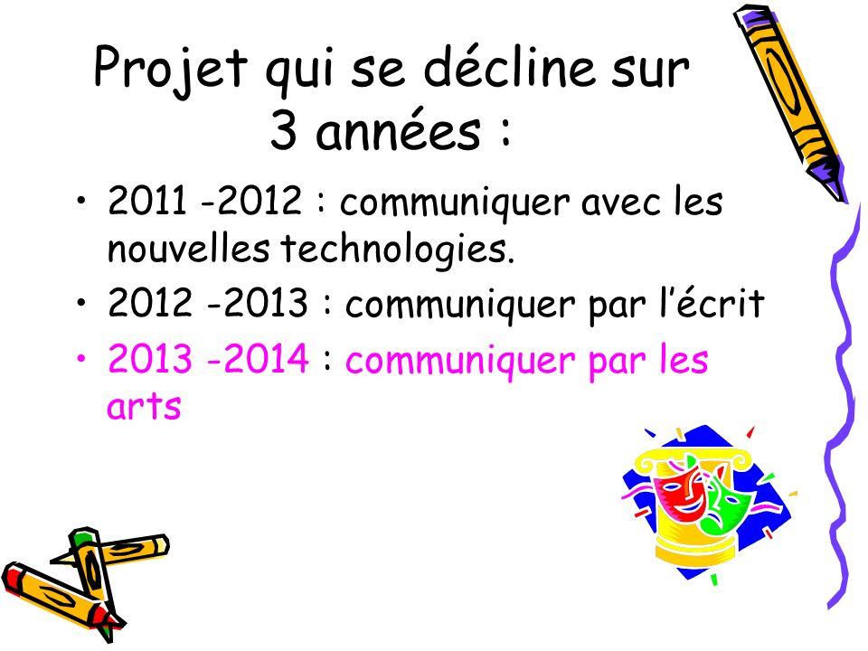Projet qui se décline sur 3 années : 2011 -2012 : communiquer avec les nouvelles technologies. 2012 -2013 : communiquer par lécrit 2013 -2014 : commun
