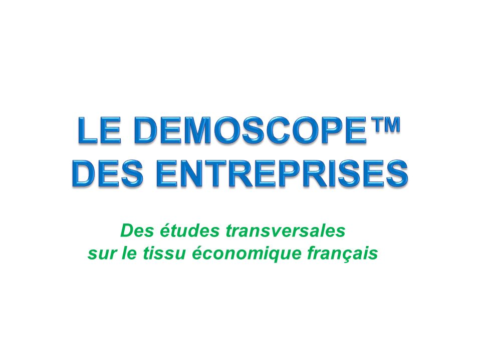 Des études transversales sur le tissu économique français Téléchargez le diaporama complet, et écoutez la conférence sur le site…