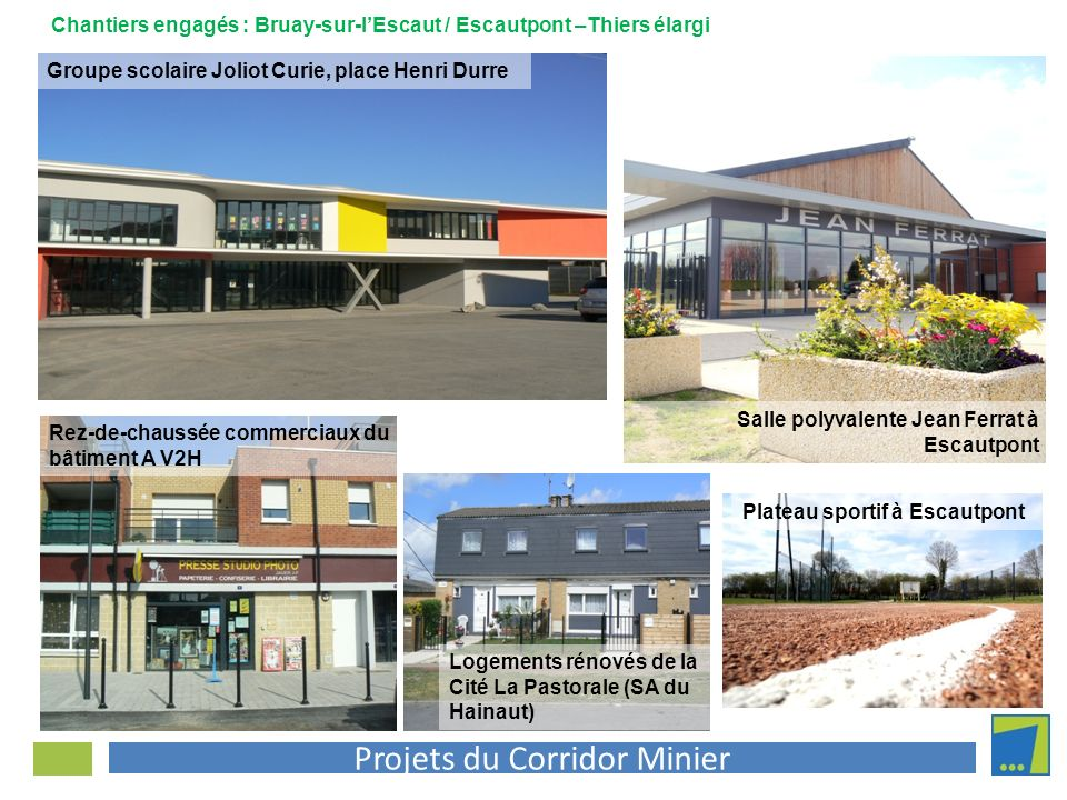 Projets du Corridor Minier Salle polyvalente Jean Ferrat à Escautpont Chantiers engagés : Bruay-sur-lEscaut / Escautpont –Thiers élargi Groupe scolair