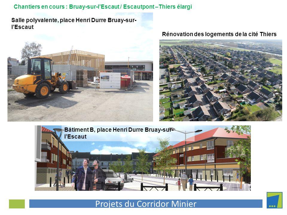 Projets du Corridor Minier Chantiers en cours : Bruay-sur-lEscaut / Escautpont –Thiers élargi Salle polyvalente, place Henri Durre Bruay-sur- lEscaut