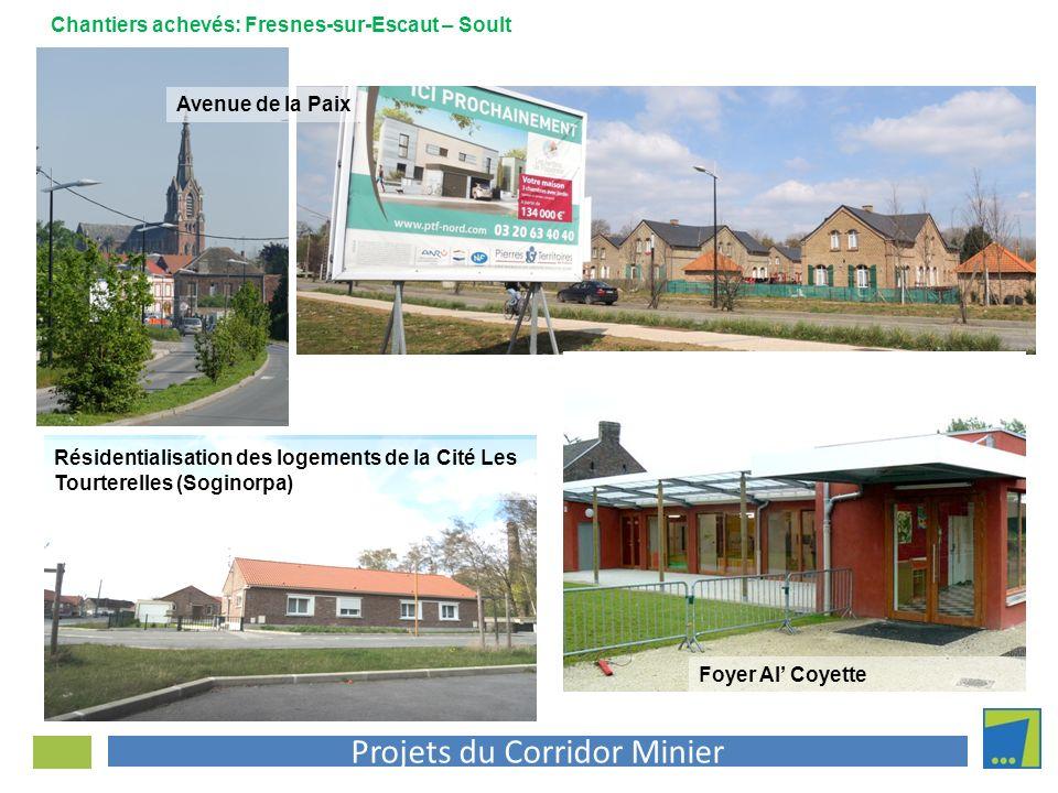 Projets du Corridor Minier Avenue de la Paix Foyer Al Coyette Chantiers achevés: Fresnes-sur-Escaut – Soult Résidentialisation des logements de la Cit
