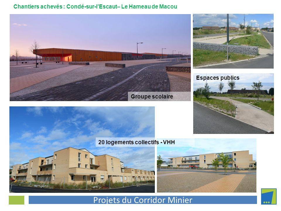 Projets du Corridor Minier Groupe scolaire 20 logements collectifs - VHH Espaces publics Chantiers achevés : Condé-sur-lEscaut– Le Hameau de Macou